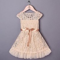 Wholesale Lace Beige Dress Belt - Summer children princess dress girls lace hollow tulle dress bow belt kids dresses children clothing pink beige A5332