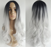 Wholesale Wig Silver White Long - Long Curly hair ombre wigs two tone natural black silver white Synthetic hair wigs medium length long Bobo wigs for women wig