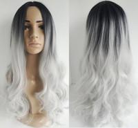 ingrosso parrucca argento lungo-Parrucche ombre lunghe capelli ricci due toni naturali nero argento bianco Parrucche sintetiche per capelli lunghe lunghe lunghe parrucche Bobo per parrucche da donna