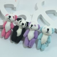 Wholesale Christmas Stuffed Panda Bear - #Black 4cm Mini Stuffed Jointed Bare Panda Dolls Plush Toys Pendant Teddy Bear Bouquet Bag Phone jewellery accessory gift