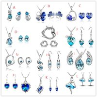 Wholesale Red Earrings For Prom - Fashion 12 Styles Crystal Diamond Pendant Necklace Earrings Jewelry Sets for Women Wedding Prom Heart Angle Wings Set