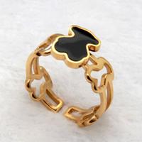 Wholesale Enamel Rings Stainless Steel - Black Black Enamel Bear 316L Stainless Steel Gold Plated Cuff Rings for Men and Women SR00769