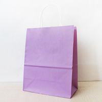 ingrosso negozi di lavanda-Sacchetto della spesa di carta della lavanda di 27 * 21 * 11cm con la maniglia, borsa della carta kraft 130gsm, può marchio su misura di stampa dell'OEM