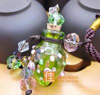 ingrosso pendente di bottiglia di profumo dell'annata-collana pendente vetro moda olio essenziale diffusore collane fiori piccolo pendente aromaterapia ciondolo bottiglia profumo vintage collane