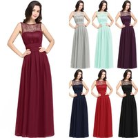 Wholesale Mint Dresses For Prom - Hot Burgundy Navy Blue Mint Chiffon Bridesmaid Dresses For Summer Beach Weddings A Line Empire Waist Sheer Cheap Evening Prom Gowns CPS616