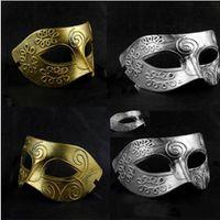 máscaras de mascarada de guerrero romano al por mayor-Los hombres de plata retro Máscaras de fiesta de plata Los guerreros romanos Máscaras de diseño Máscaras de príncipe de medio rostro Máscaras de suministros de Halloween