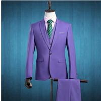 dreiteilige anzug lila weste großhandel-(Jacke + Pants + Weste) 2017 Männer Drei Stück Slim Fit One Button Formelle Anzüge Lila Hochzeitsanzug Business Mens Formal Wear