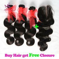 Wholesale Buy Closure - Buy 3 Get 4! Brazilian Body Wave Hair Bundles with Free Lace Closure Malaysian Peruvian Indian Cambodian Unprocessed Virgin Human Hair Weave