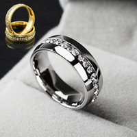 Wholesale Celtic Rings For Men - HOT Factory Price Fashion 316L Stainless Steel Crystal Wedding Rings For Women Men Top Quality 18K Gold Plated Men's Ring 10pcs lot