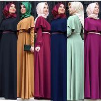 Wholesale Xl Muslim Woman Clothes - Muslim women abaya Ethnic Style Women Muslim Clothing O-neck Cape Solid Loose Long Sleeve Maxi Dresses