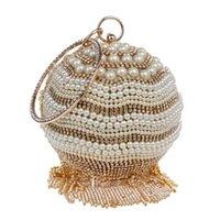 Wholesale Beaded Evening Purse Gold - New Fashion Women Circular Rhinestone Diamond Tassel Beaded Pearl Evening Bag Lady Wristlet Clutch Handbag Purse For Wedding Party Dinner