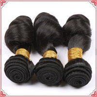 Wholesale Smooth Waves Hair - Top Quality Brazilian Human Virgin Hair Loose Wave Natural Black Color So Smooth And Soft Can Be Washed