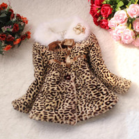 Wholesale Down Jacket Leopard - 2015 Kids Gilr Jacket Girls Leopard faux fox fur collar coat clothing with bow Retail Girls coat Children outerwear D165L
