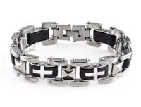 ingrosso migliori braccialetti-Moda uomo bracciali in acciaio inox croce silicone wristband maschio braccialetti punk catena gioielli per gli uomini migliori regali D259L