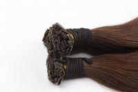 Wholesale Wholesale Keratin Bond Hair Extensions - Flat Tip Keratin Hair Extensions 100% Human Brazilian Remy Hair #4 dark brown color 1g strand 100g 100s bag Free shipping