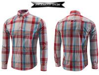 erkekler gömleklik gömlek satışı toptan satış-Toptan-Sıcak satış erkekler ücretsiz kargo gömlek% 50 pamuk Casual uzun kollu ekose gömlek moda erkek çizgili gömlek 6005