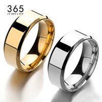 Al por mayor-Simple Finger Jewelry 8mm Never Fade Silver Rose Gold One Band Ring Hombres Smooth Stainless Steel Señor de los anillos para hombre regalo