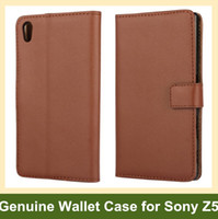 Wholesale Xperia Flip Case - Wholesale New Arrrive Genuine Leather Wallet Flip Cover Phone Case for Sony Xperia Z5 E6603 E6653 Drop Shipping