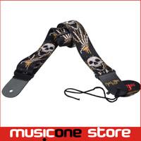 Wholesale Guitar Straps Skull - 5pcs Guitar Strap Skull Pattern Adjustable Genuine Leather Ends for Acoustic Guitar Bass Black MU0390