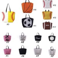 Wholesale cartoon baseballs - 13 Styles Canvas Bag Baseball Tote Sports Bags Casual Softball Bag Football Soccer Basketball Cotton Canvas Tote Bag CCA7889 20pcs