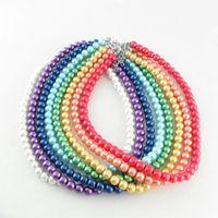 veste en cristal à épaulettes achat en gros de-Brides Accessoires Bijoux Perle Artificielle Collier Pendentifs Perle Charme 8mm Longueur 42.0cm