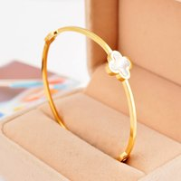 Wholesale Lucky Stainless Steel Ring - Fashion 316L stainless steel white shell inlaid lucky flower bangle bracelet jewelry for women free shipping SB00434