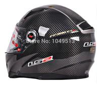 Wholesale Motorcycle Helmet Ls2 Carbon - Wholesale-2014 new cheap capacete motorcycle LS2 FF396 double lens carbon fiber motorcycle helmet band airbag edition
