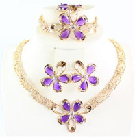 Wholesale Bridal Necklaces Light Purple - African Jewelry 18K Dubai Gold Plated Purple Ruby Flower Wedding Necklace Bracelet Earring Ring Bridal Jewelry Sets