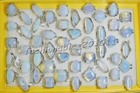 Wholesale Top Natural Gemstones - Top Quality! 50pcs Elegant Natural Opal gemstone Silver P Fashion Mix Size Rings Jewelry