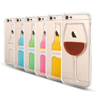 "For Apple iPhone Plastic Blue Clear Case for iPhone 5 5S 6 4.7"" Plus 5.5'' Liquid Quick Sand Tall Red Wine Cocktail Glass Beer Mug Bottle Cup Transparent Back Cover"