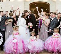 Wholesale Little Girls Ballgown Dresses - Pink Ballgown Dresses For Little Girls Spaghetti Straps Tutu Dresses With Handmade Flowers Flower Girls Dresses Custom Made