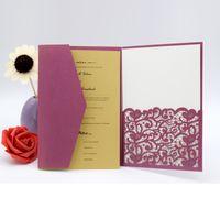 Wholesale Tri Folding Invitations - 50pc Vintage Tri-fold Wedding Supplier Pocket Invitations China 2018 Elegant Luxurious Party Invitation Cards Laser Cut Dinner Invites
