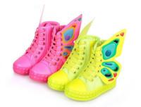 niños zapatillas de deporte alas al por mayor-Moda infantil Zapatillas de deporte Niños Niñas Alas Zapatos de lona High-top Side Zipper para niños Zapatos casuales Tamaño 25-36
