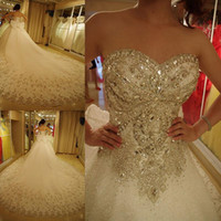Wholesale Modest Luxury Wedding Dress - Luxury crystals bling ball gown wedding dresses with bow plus size sweetheart modest rhinestone cathedral train lace up corset bridal gowns