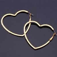 Wholesale Gold Filled Heart Earrings Hoop - Big Heart Love Hoop Earrings Austrian Rhinestone 18K Gold Platinum Plated Fashion Jewelry Valentine's Day Gift For Women MGC E617