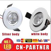 Wholesale 3w Power Led Driver - x10 LED Recessed mini Downlight 3W LED white silver body LED cabinet lights ceiling lamp 85-265V inddoor lamp with power driver CE ROHS