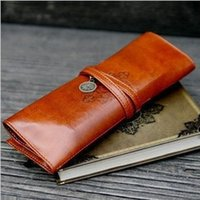 Wholesale Twilight Retro Pen Bag - 2016 Imballaggio Twilight astuccio Vintage Retro Roll Vintage Retro Roll Leather Make up Cosmetic Pen Pencil Case Pouch Purse Bag