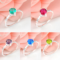 Wholesale Bulk Sterling Silver Jewelry - 10 Pcs 1 lot Bulk Crystal Fire Round 5 Color Quartz Gemstone 925 Sterling Silver Ring Russia American Australia Weddings Ring Jewelry Gift