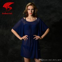 Wholesale Tunic Sale Women - 2016 Hot Sale Sexy Casual Beach Wear V-Neck Mid Sleeve Women Swimsuit Cover Up Dress For Lady Elegant Swimwear Ruffled Tunic Beachwear