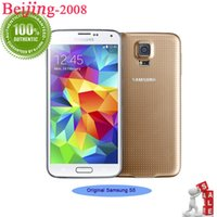 Wholesale S5 Android 3g - Original refurbished Samsung S5 Cell Phone I9600 Galaxy S5 Unlocked 5.1 2GB  16GB Android 5.0 Smartphone Quad Core 3G free shipping 002865