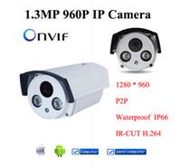 Wholesale Outdoor 264 Camera - HD 1.3MP 960P IR Night Vision Outdoor Waterproof Network P2P Onvif IP CAMERA IOS H.264 1.3 Megapixel IP Network