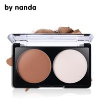 Atacado- Por Nanada 2 Color Face Shading Powder Contour Bronzer Highlighter Conjunto de paleta Maquiagem Face Contouring Grooming Pressed Powder