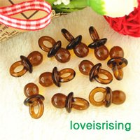 Wholesale Mini Acrylic Clear Baby Pacifier - Free shipping--500pcs Mini Acrylic Clear Brown Baby Pacifier Baby Shower Favors~Cute Charms ~cupcake decorating