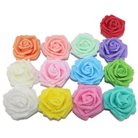 Compra Fiore Artificiale Multicolore All'ingrosso-All'ingrosso-Spedizione gratuita 6cm testa multicolore a mano 5 strati addensare pe schiuma fiore rosa testa / fiori artificiali rosa (50pcs / lot)