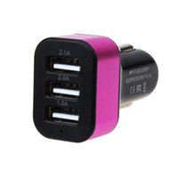 Atacado- Rose Red 2016 Novo USB 3 Port Car Triple Charger Adapter Accessory 5.1A para iPhone 6 5 HTC iPad