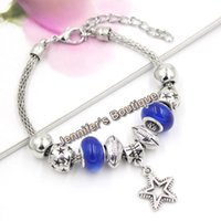 Wholesale Rhinestone Football Beads - New Arrival PDR Charms European Style Sport Jewelry Navy Blue Beads Football Beaded Star Charm Bracelets for Sport Fans Gift Jewelry