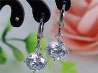 Wholesale Wonderful Earrings - 1 Pair 925 Sterling Silver Wonderful Lovely CZ Pretty Woman's Drop Earrings