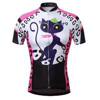 schnelle trockene kleidungsmädchen großhandel-Wholesale-2015 Cat Mädchen Frauen Bike Sportwear Radsportbekleidung Fahrrad Kurzarm Jersey Top Quick Dry