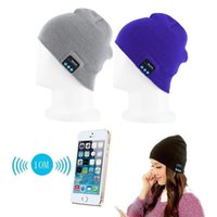 Wholesale Coloured Hats - Free DHL Men Women Soft Winter Beanie Hats Wireless Bluetooth Smart Cap Headphone Headset Speaker Mic Headgear Knitted Cap More Colour