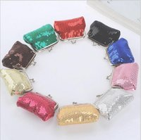 Wholesale Cheap Wallets For Kids - Sequin mini coin purses brand designer Cute Candy Color Sequined Coin Bags wallets Casual Mini Bags key holder purse For Women kids cheap